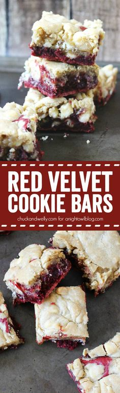 Red Velvet Cookie Bars - red velvet brownies topped with white chocolate macadamia nut cookie dough make for a decadent treat!