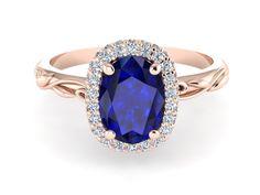 Blue Sapphire Engagement Ring, Pink Gold Engagement Diamond Ring, Oval Diamond Wedding Ring, Vine And Leaf Diamond Engagement Ring by BridalRings on Etsy https://www.etsy.com/listing/481503765/blue-sapphire-engagement-ring-pink-gold
