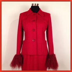 "Vintage Mimmina Suit Excellent condition vintage (80s?) Italian red tweed suit w/ outrageous long red fur cuffs! Soft wool tweed with dark red boucle grid pattern throughout. Lined w/ silky red fabric in perfect condition. Fine wool: not bulky at all. Jacket features medium shoulder pads, 2 front patch pockets & 4 button closure. Pencil skirt has button/zipper closure & back slit. Marked size 8. Jacket: Length:23.5"". Bust:38"". Shoulders:15"". Sleeve:23""-27"" to end of fur cuff. Skirt…"