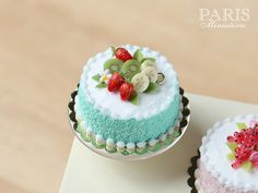 Pastel Cake - Green, Decorated with Fruit (Strawberries, Kiwi Fruit, Banana) - Miniature Food in 12th Scale for Dollhouse