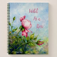 Wild Red Rose Art Nature Design Floral Pattern Notebook - red gifts color style cyo diy personalize unique