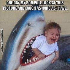 One Day My Son Funny Toddler In Fake Shark