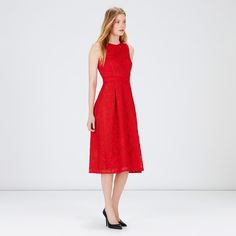 Warehouse, APPLIQUE LACE MIDI DRESS