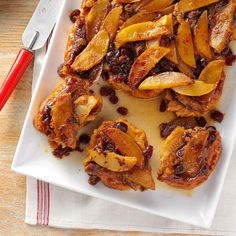 Cinnamon-Apple French Toast Recipe -Serving this on Christmas morning is a tradition in our home. Its wonderful because I can make it the night before and pop it in the oven while we are opening gifts. Apple Recipes, Fall Recipes, Holiday Recipes, Yummy Recipes, Recipies, Make Ahead Brunch Recipes, Breakfast Recipes, Breakfast Ideas, Brunch Ideas