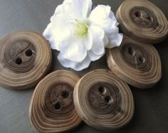 Wooden Buttons - 5 Rustic Ohio Wood Tree Branch Buttons - 2 holes, 1 1/2 x 1 3/8 inches - For journals, purses, pillows