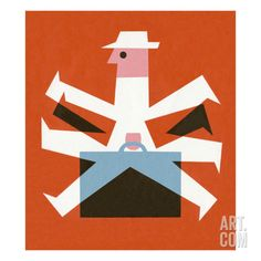 Man Walking With Suitcase Art Print by Pop Ink - CSA Images at Art.com