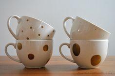 Easy DIY Polka Dots tea cups with metallic Sharpie @Our Transatlantic Love