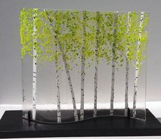 Zeldas Fine Arts // fused glass, transparent background, birch trees, tiny green leaves More