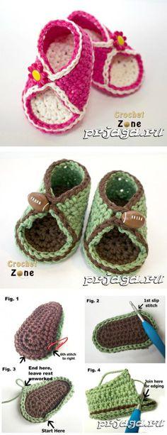 Пинетки - сандалики крючком для мальчиков и девочек