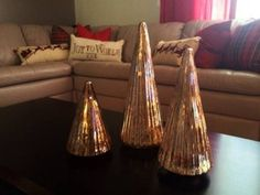 Set of 3 Silver POTTERY BARN Mercury Glass Christmas Trees in Riverview, FL (sells for $40)