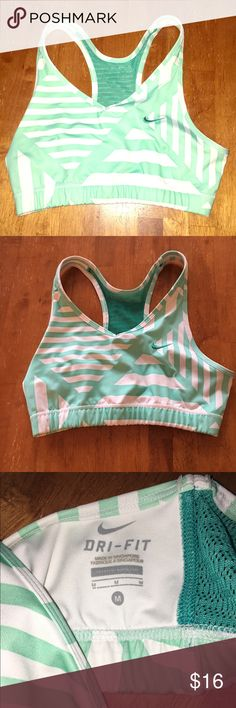 Nike dri fit mint green/white sports bra medium Nike dri fit mint green/white striped with mesh on back sports bra medium. Excellent no flawed condition. Nike Intimates & Sleepwear Bras