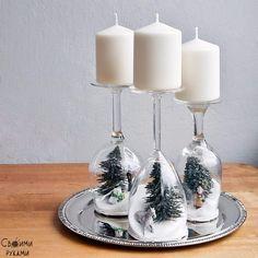 Новогодний декор с помощью бокалов