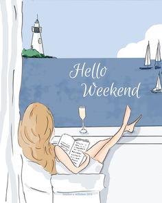 Hello Weekend #weekend hello weekend illustration ocean lighthouse boats girl reading