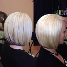 blonde assymetrical bob with dark brown underneath 1