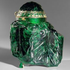 EMERALD VESSEL  This is the largest cut emerald in the world. It comes from Columbia where the Spaniards discovered it in the middle of the 16th century. The stone consists of two crystals grown together, and weighs 2680 carats.  Kunsthistorisches Museum. Vienna