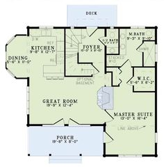 Log Style House Plan - 2 Beds 2.50 Baths 1449 Sq/Ft Plan #17-462 Floor Plan - Main Floor Plan - Houseplans.com