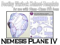 Destiny Warlock Helmet 'Nemesis Plane IV'. Template for EVA foam .pdf file and .pdo file