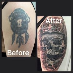 cover up tattoo by gege Cover Up Tattoos, Skull, Ink, Portrait, Instagram, Design, Tattoos Cover Up, Headshot Photography, Men Portrait