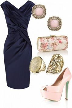 61c75e7b6f5 navy silk dress with pretty accessories - perfect for a wedding by lupita m  Svarta Kläder