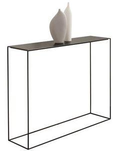 Console Slim Irony / L 124 cm Plateau phosphaté noir / Pied noir cuivré - Zeus - Décoration et mobilier design avec Made in Design