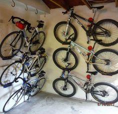 A wall of bikes. DaHANGER Dan gets it done.