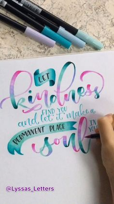 Lettering video of Inspirational quote - Using Tombow Dual Brush Pens and Arteza Twimarkers on Canson Marker Paper. Time lapse video of blending colors in modern calligraphy art. the quote is by Lana Morrison Brush Lettering Quotes, Brush Pen Calligraphy, Hand Lettering Tutorial, Hand Lettering Alphabet, Watercolor Lettering, Typography Quotes, Modern Calligraphy Quotes, Lettering Tattoo, Lettering Ideas