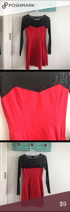 red and black dress Red sweetheart neckline dress with black mesh sleeves Forever 21 Dresses
