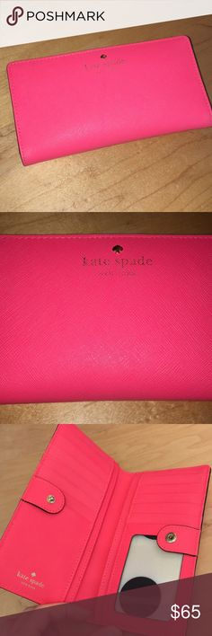 Kate spade Stacy wallet Kate spade Stacy wallet in bright pink/coral. Shows some wear from normal use on the inside and on the clover/Kate spade part on the outside but still in good condition! Contains 4 bill pockets, 12 card slots and one clear license slot with zippered pouch for coins. kate spade Bags Wallets
