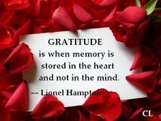 Gratitude is when memory is stored in the heart and not in the mind.