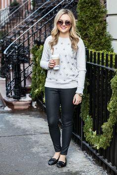 jeweled sweatshirt, wax coated jeans, sequin loafers