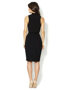 AVA & AIDEN - Sleeveless Wrap Front Sheath Dress