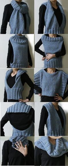 Free knitting pattern for Convertible Accessory Cowl Vest Tunic