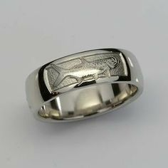 Hand Engraved Tarpon on a Half Round, Comfort Fit Band Hand Crafted. Meteorite Wedding Band, Hand Engraving, Wedding Bands, Rings For Men, Engagement Rings, Metal, Silver, Beautiful, Jewelry
