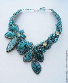 Купить или заказать Тропическая Ночь в интернет-магазине на Ярмарке Мастеров. Соцветия роскошных лепестков хризоколлы, в сочетании с кристаллами swarovski, все оттенки бирюзы, голубого, синего, изумрудного цветов, цветов ночи.