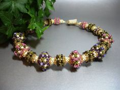 Berkshire Spring Beadwoven Necklace with Seed Beads.  Repin via I'm Loving Beads.