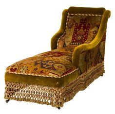 Victorian chaise longue with original fringing and fabric. Victorian Furniture, Unique Furniture, Vintage Furniture, Cheap Furniture, Wooden Furniture, Furniture Stores, Bohemian Decor, Gypsy Decor, Interiores Design
