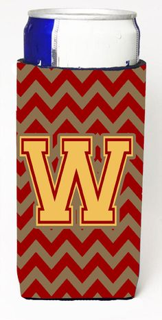 Letter W Chevron Garnet and Gold Ultra Beverage Insulators for slim cans CJ1048-WMUK
