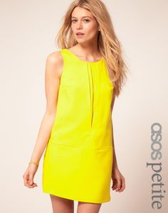 ASOS PETITE exclusive pleat front sleeveless shift dress $52 #fashion #outfit #clothes #dress #mini #party #neon #yellow #bright #bold #a-line #party #summer #style #stylish #club #date #model #modern #trendy party-dresses