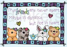 true friends are never apart, cute clip art, animal clip art