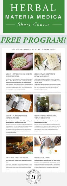 Free Herbal Materia Medica Course - Designed for herbalists in the making, seasoned herbalists, and those of you not yet sure if this is the right path for you, this program will walk you through the process of studying one herb at a time, teaching you how to create (or add to) your materia medica.