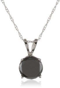 Mother's Day Gift: 14k Gold Black Diamond Solitaire Pendant (1 cttw) -- by Amazon Curated Collection.  Click the picture to read more....