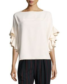 See By Chloe Boat-Neck Ruffled-Sleeve Crepe Top Blusa Con Cuello 6f1c14b7eb44