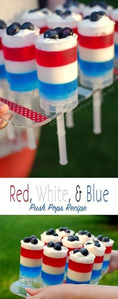 Yummy 4th of July Jello Push up pops! Red, White, and Blue. They taste as yummy as they look!    Michael Eric Berrios Likes this!