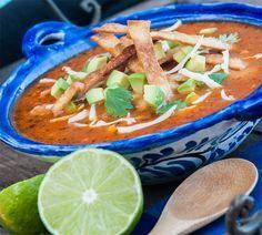 Best Tortilla Soup recipe ever! Whitewater Cooks Best Tortilla Soup recipe ever! Best Tortilla Soup Recipe, Chicken Tortilla Soup, Healthy Chicken Recipes, Soup Recipes, Cooking Recipes, Recipies, Slow Cooker Freezer Meals, Soup Kitchen, Cauliflower Soup