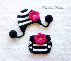 Newborn Baby Girl Pom Pom Ear Flap Flower Hat and by Sockmonkey7