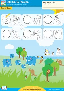 """Let's Go To The Zoo"" Find & Write Worksheet from Super Simple Learning. #preK #Kindergarten #ESL"