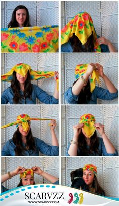 Pirate Scarf: simple way to tie a #Scarf as a bandana, giving you an outstanding look as a pirate. It will protect you from the sun and offer a perfect match with sunglasses.