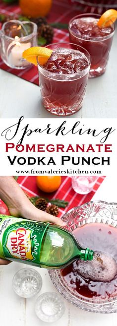This deep red Sparkling Pomegranate Vodka Punch will make a super festive and delicious addition to your holiday gathering. #CanadaDry #sponsored