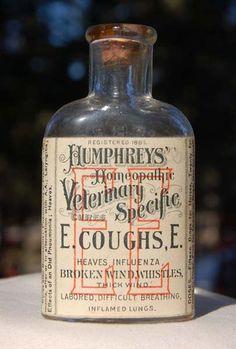 Pristine Labeled Humphrey's Veterinary Medicine E E Antique Bottle w Pic Horse | eBay