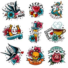 Old tattooing school colored emblems labels set with swallow rose heart cup of coffee knife anchor skull symbols isolated vector illustration , tattoo designs ideas männer männer ideen old school quotes sketches Old School Tattoo Motive, Old School Tattoo Designs, Tattoo New School, Tattoo Set, Arm Tattoo, Sleeve Tattoos, Samoan Tattoo, Polynesian Tattoos, Flash Art Tattoos
